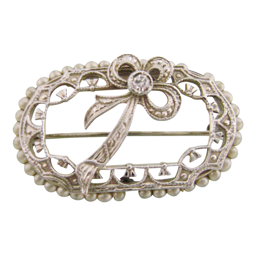 Lovely Ca. 1920's 18K White Gold Pin with Diamond & Seed Pearls