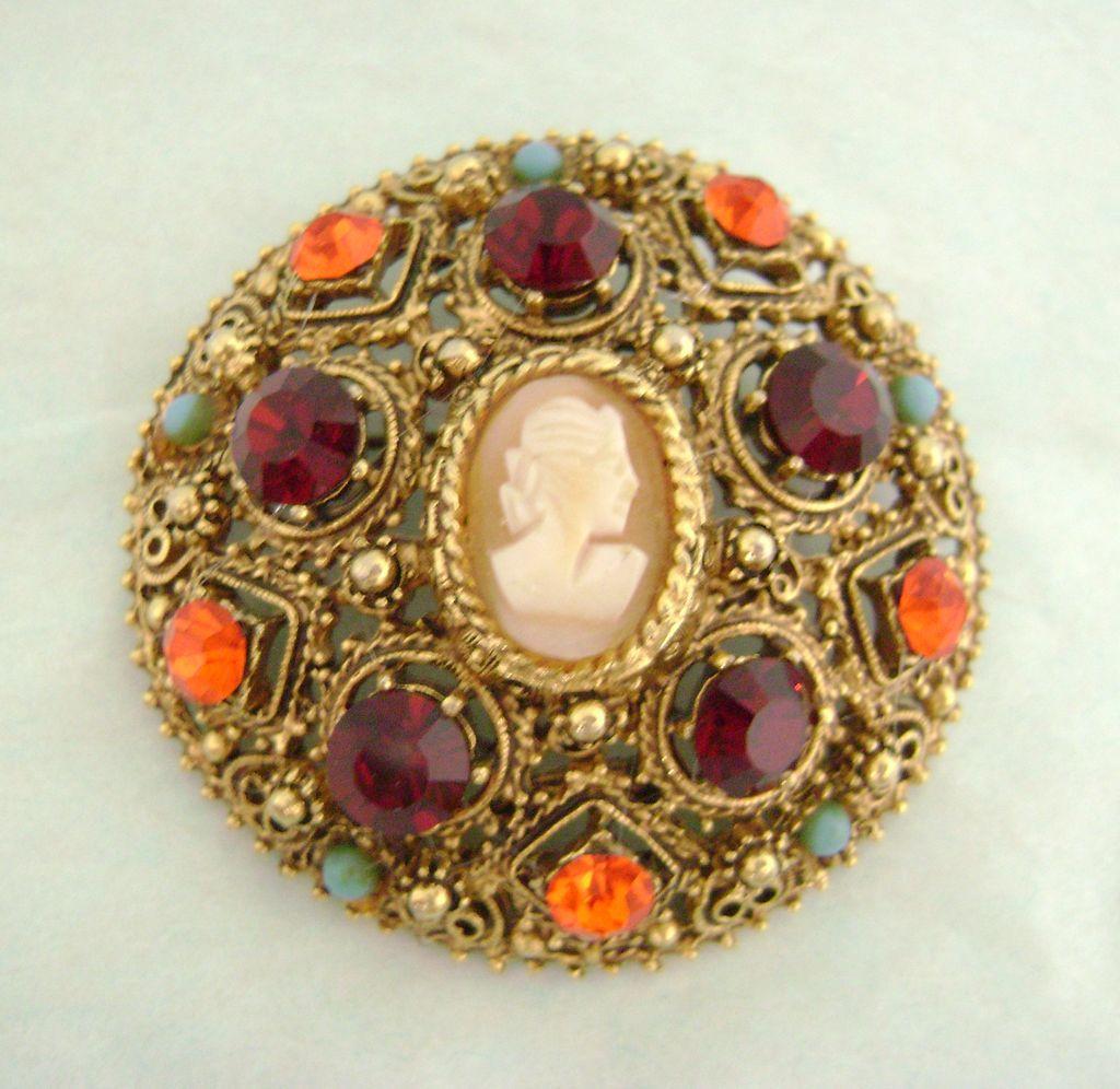 Vintage Stunning FLORENZA Rhinestone Cameo Pin