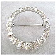 Ca. 1940's JOMAZ Sparkling Pave Rhinestone Rhodium Circle Pin