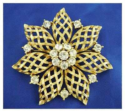 Vintage Open Weave Rhinestone Pin Signed LISNER