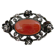 Early Sterling Carnelian Roses Pin Detailed Chasing