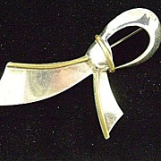 Sterling TAXCO Ribbon or Bow Pin