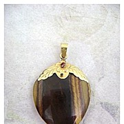 Vintage 14K & Tigers Eye Large Heart Shaped Pendant