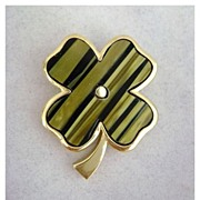 Vintage TRIFARI Striped Four Leaf Clover Pin