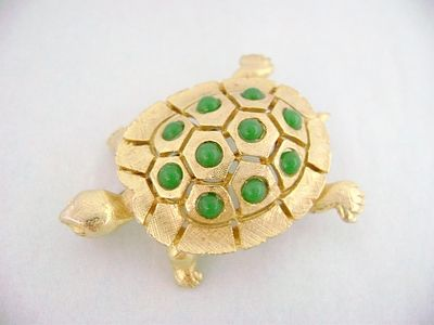 Vintage Designer Green Faux Gemstone Turtle Pin Numbered