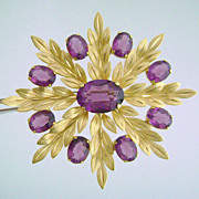 Exquisite Van Dell Amethyst Glass Gold Filled Leaf Pin