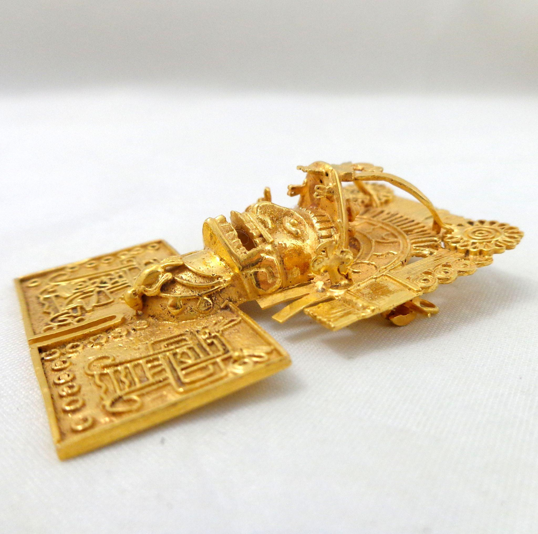 On hold vintage ornate 18k gold aztec god mask pin pendant sold on roll over large image to magnify click large image to zoom aloadofball Image collections