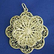 Vintage Ornate Spun Silver Filigree Flower Pendant