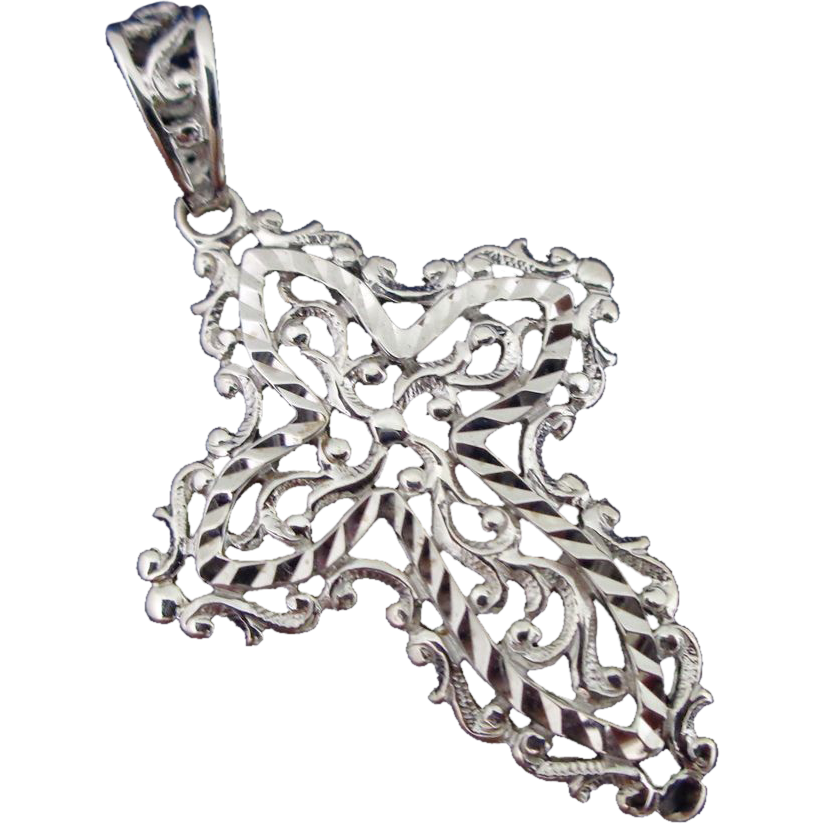 Fancy Filigree 10K White Gold Cross Pendant Estate