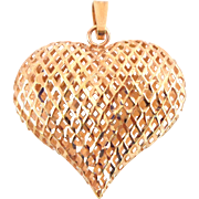 Estate 14K Rose Gold Puffy Open Weave Heart Pendant