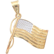 14K Yellow/White Gold American Flag Pendant