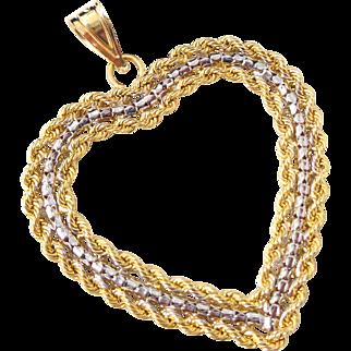 Estate Large 14K Yellow White Gold Rope Design Heart Pendant Original Box