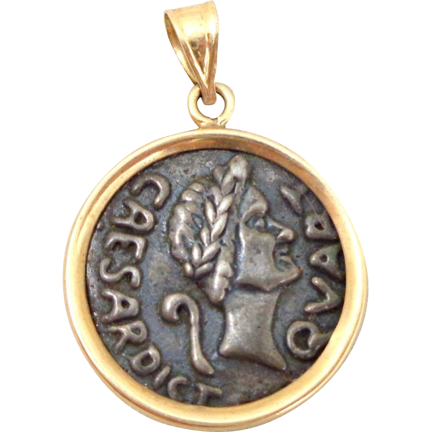 Estate 14K Gold Pendant Caesar's Palace Replica Coin