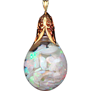 Early 18k 14k Gold HORACE WELCH Floating Opal Pendant
