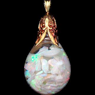Early 18k 14k Gold HORACE WELCH Floating Opal Pendant