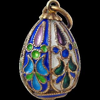 Vintage Sterling Silver Floral Cloisonne Enamel Russian Egg Pendant Charm
