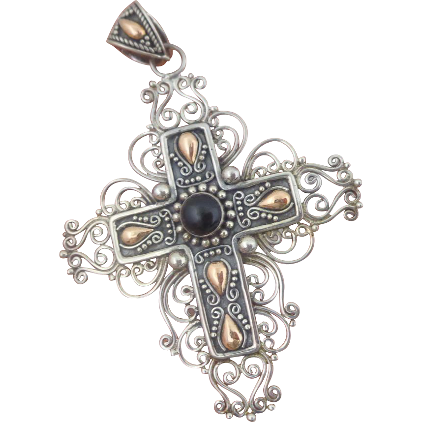 Designer BA Indonesia Sterling Silver 18K Onyx Filigree Cross