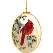 Vintage Artist BONNIE CHILDERS 1993 Hand Painted Cardinal on Mother of Pearl Pendant