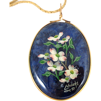Vintage 1993 BONNIE CHILDERS Hand Painted Miniature Dogwood Pendant