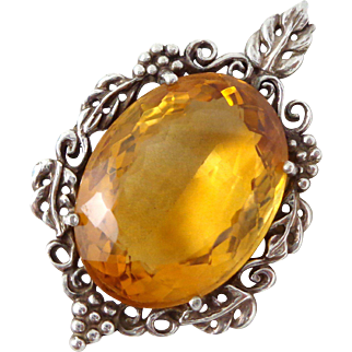 Vintage Stunning KABANA Sterling Silver Large Citrine Gemstone Grapes Pendant