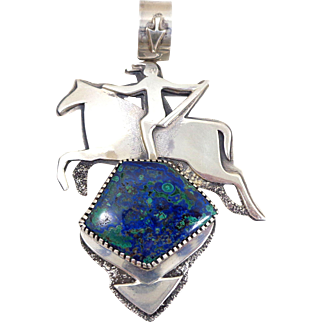 X-Large Native American Sterling Silver & Azurite Indian on Horse Pendant