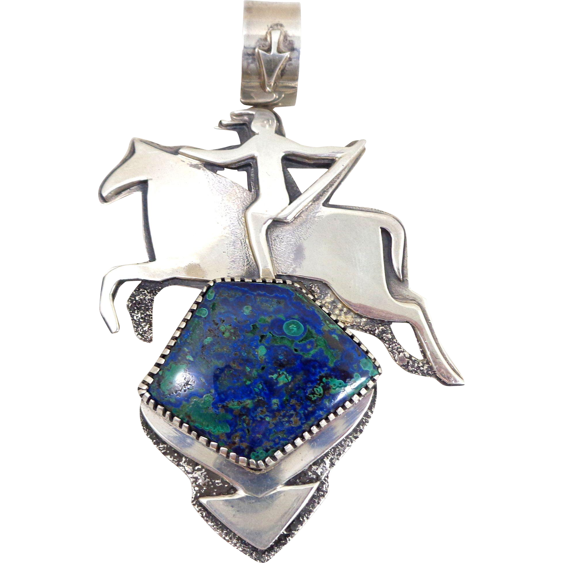 On hold X-Large Native American Sterling Silver & Azurite Indian on Horse Pendant