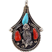 Vintage NATIVE AMERICAN Sterling Silver Turquoise Coral Lizard Pendant