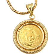 Estate .999 Gold Panda Coin on 18K Necklace & Bezel Original Box