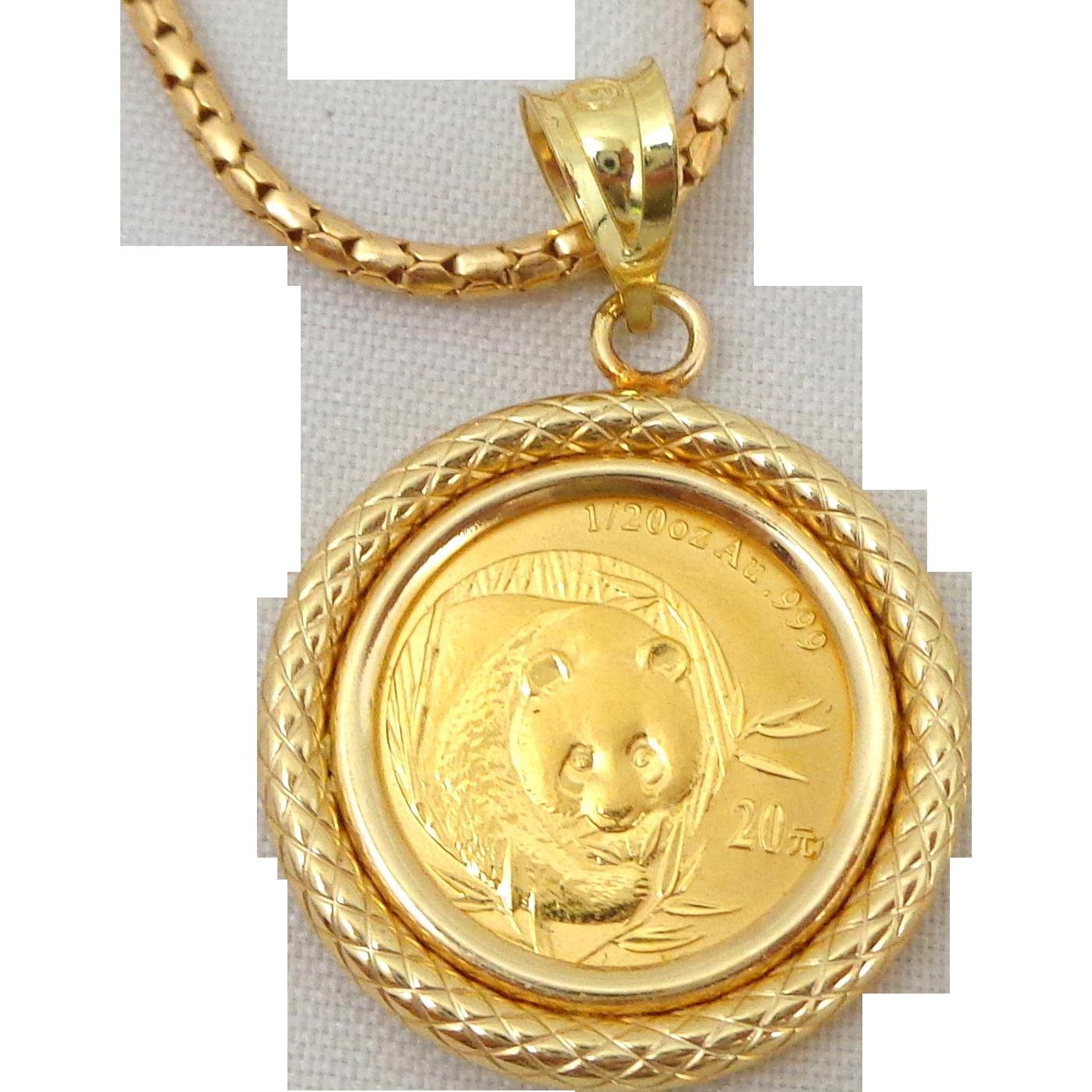 Estate .999 Gold Panda Coin on 18K Necklace & Bezel Original Box