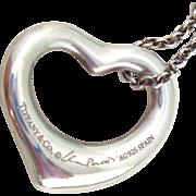 """Tiffany & Co ELSA PERETTI Open Heart Pendant 16"""" Chain"""