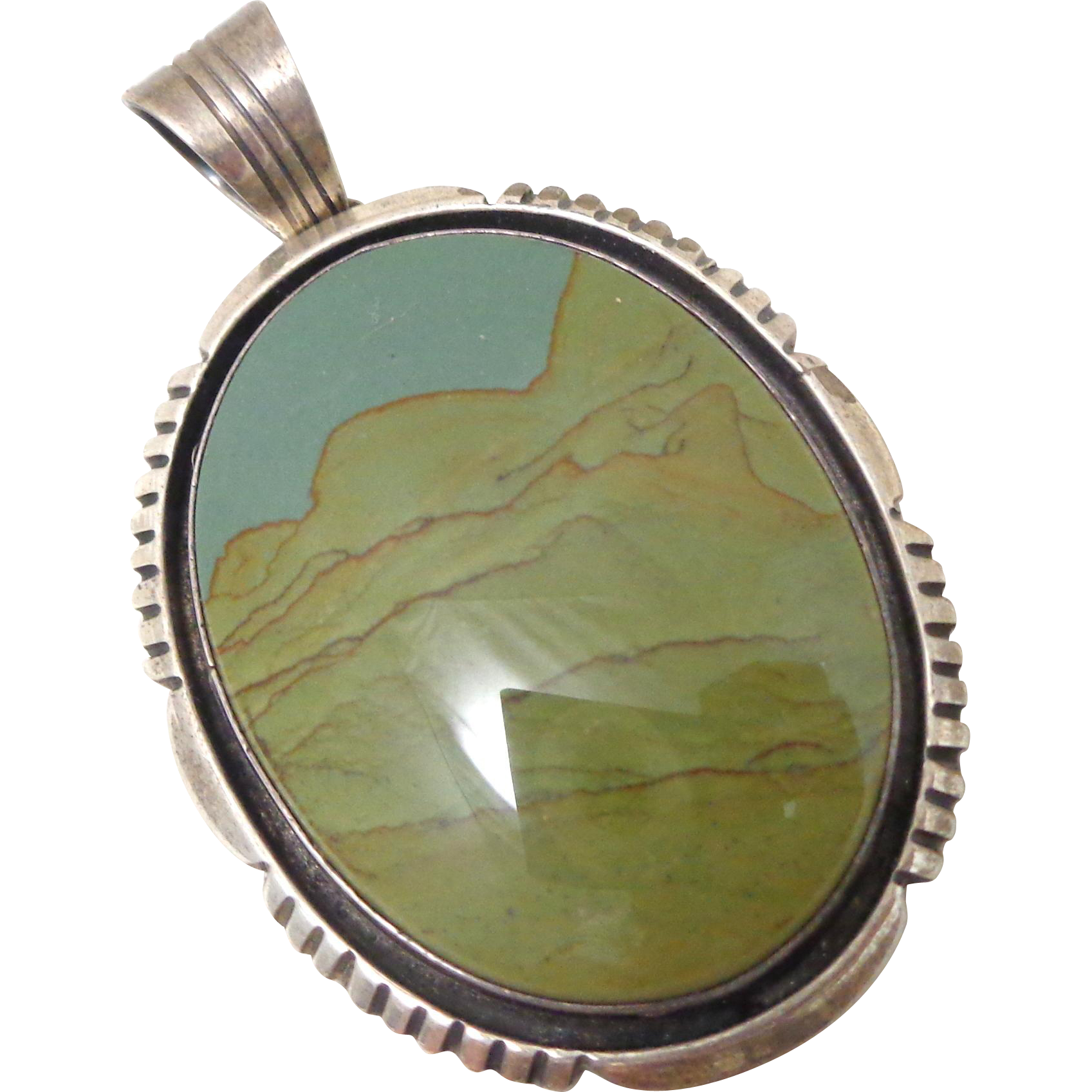 Gorgeous WILL DENETDALE Navajo Sterling Silver Picture Jasper Pendant