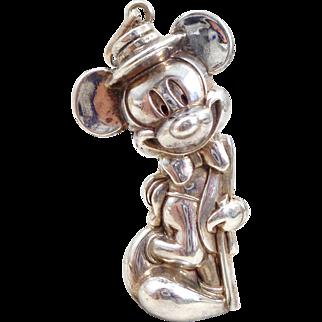 Vintage Large 3-D Sterling Silver Walt Disney Mickey Mouse Pendant
