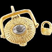 Estate M&D Sterling Silver Nantucket Basket Scrimshaw Ship Miniature Basket Pendant