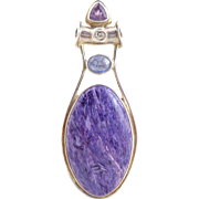 Estate Large SAJEN Sterling Silver Charoite Gemstone Pendant