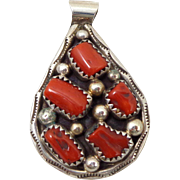 Vintage TOMMY MOORE Navajo Red Coral Sterling Silver Pendant