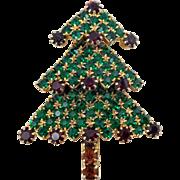 Vintage Green & Red Rhinestone 3 Tier Christmas Tree Pin
