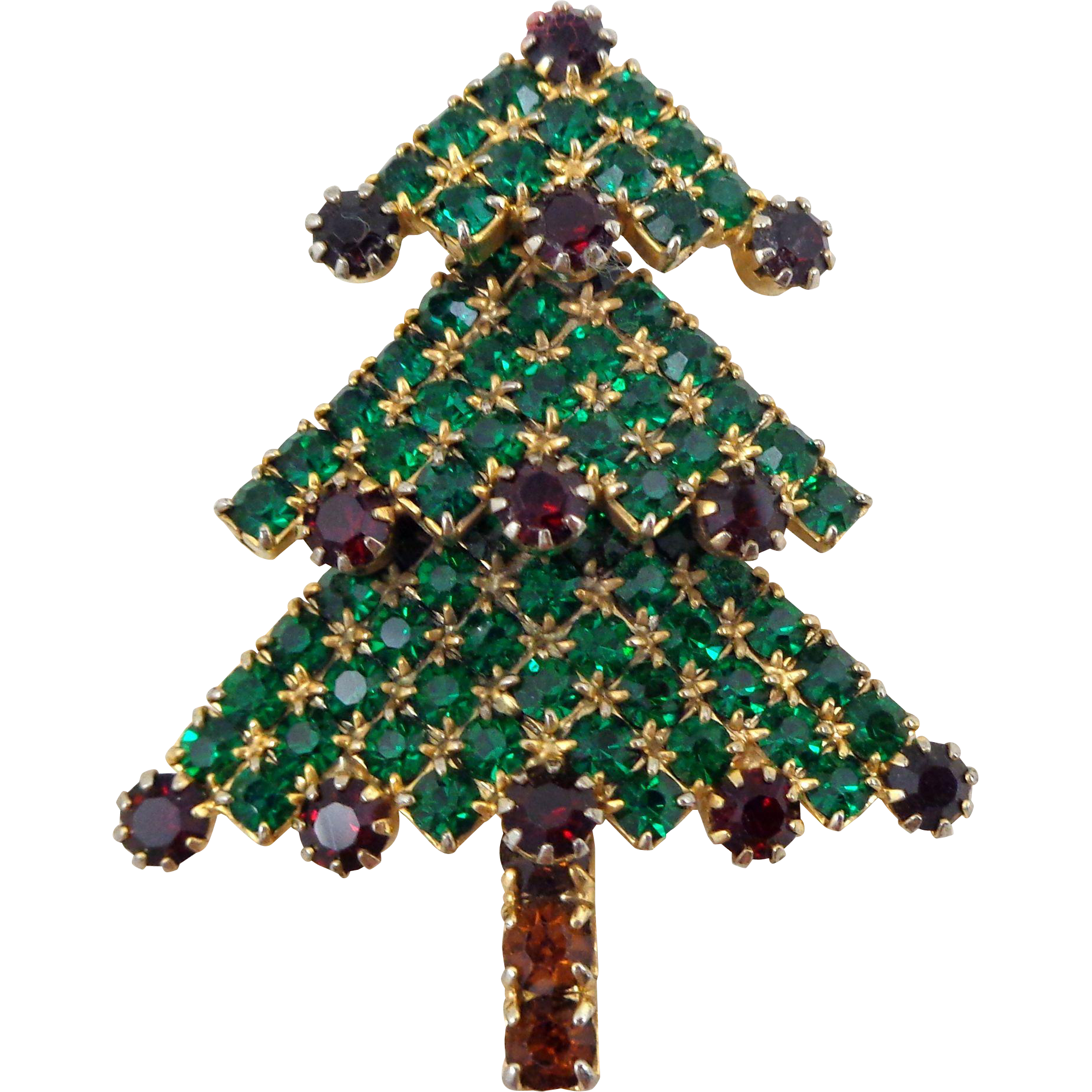 Vintage Green & Red Rhinestone 3 Tier Christmas Tree Pin
