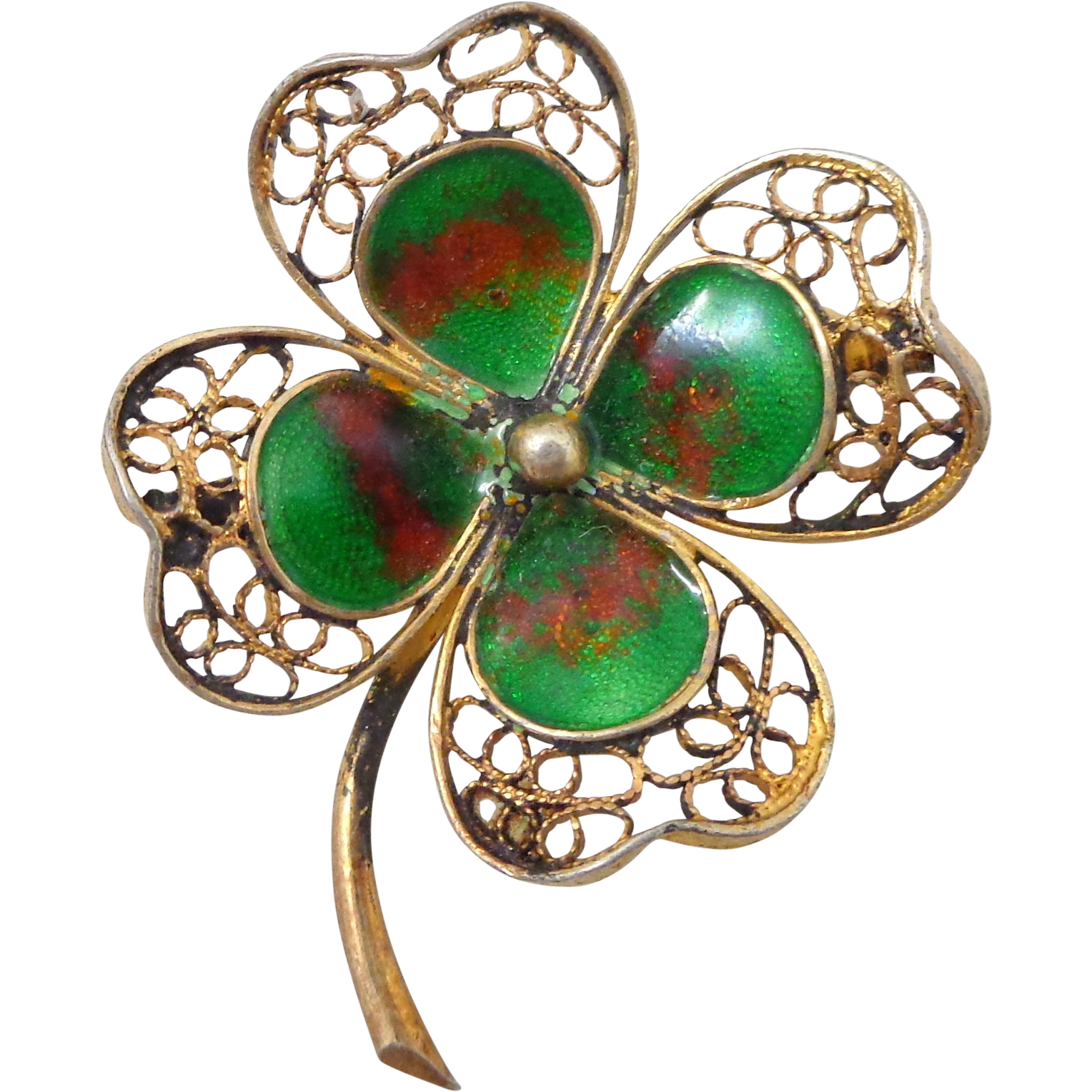 Vintage 800 Silver Filigree Enamel Lucky Four Leaf Clover Pin