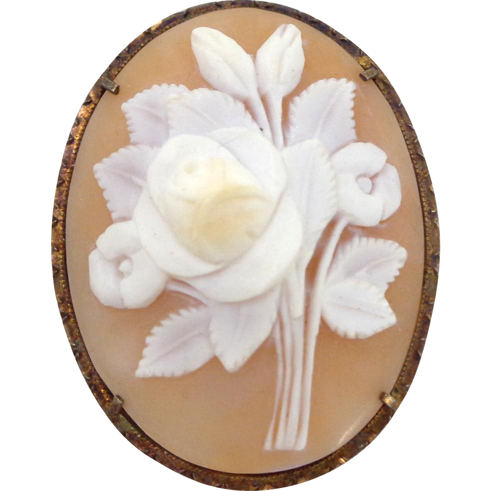 Vintage Carved Bouquet Roses Shell Cameo 800 Silver Pin Pendant