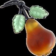 Vintage AUSTRIA Large Satin Glass Pear Pin