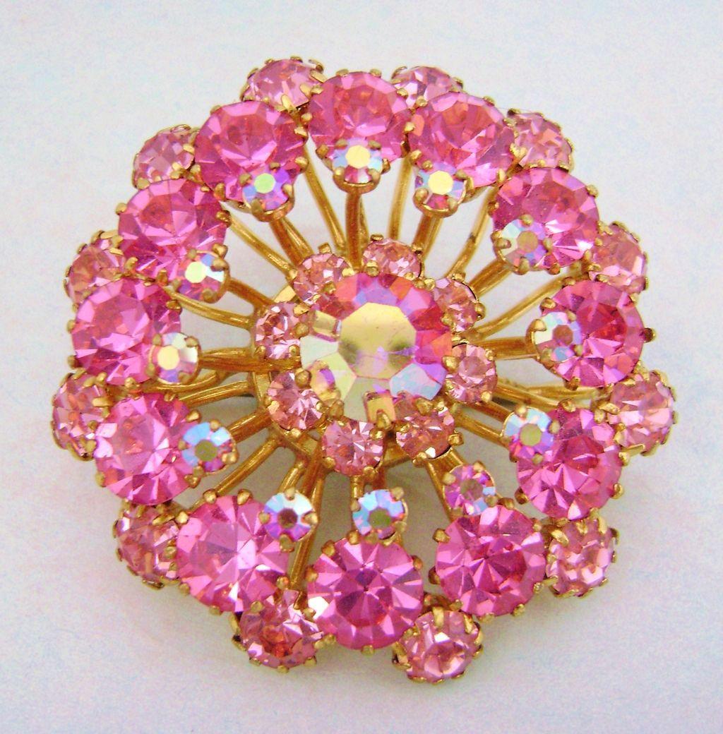 Stunning Signed AUSTRIA Hot Pink Rhinestone Brooch