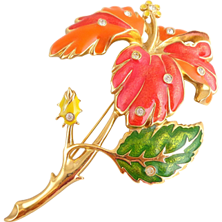 "Vintage Huge BARRERA Mod Enamel ""Fashion Flower"" Hibiscus Pin"