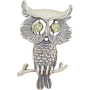 Vintage Detailed BEAU STERLING Owl Pin