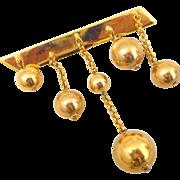 Designer BEN AMUN Dangling Gold Balls Pin