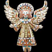 Vintage BOB MACKIE Mosaic Enamel Guardian Angel Pin IOB
