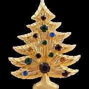 Vintage BROOKS Wire Wrapped Rhinestone Christmas Tree Pin