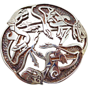 Vintage CELTIC Sterling Silver Three Dogs Pin