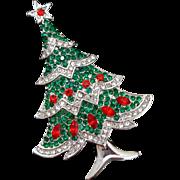 Unsigned Beauty Rhinestone Christmas Tree Pin