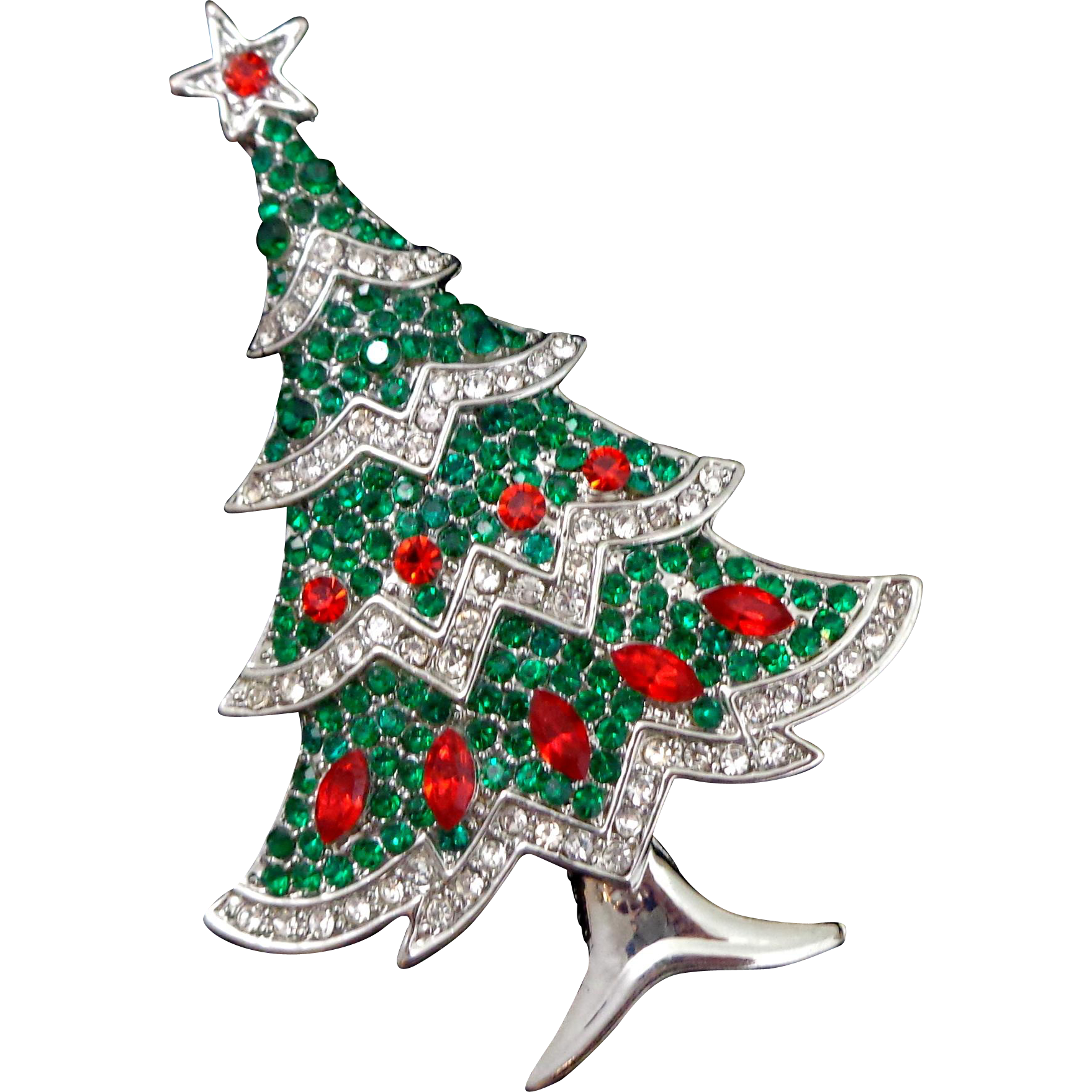 Unsigned Beauty Rhinestone Christmas Tree Pin