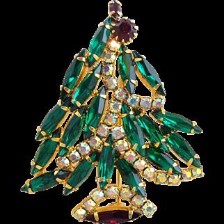 Vintage Stunning Asymmetrical Rhinestone Christmas Tree Pin Book Piece